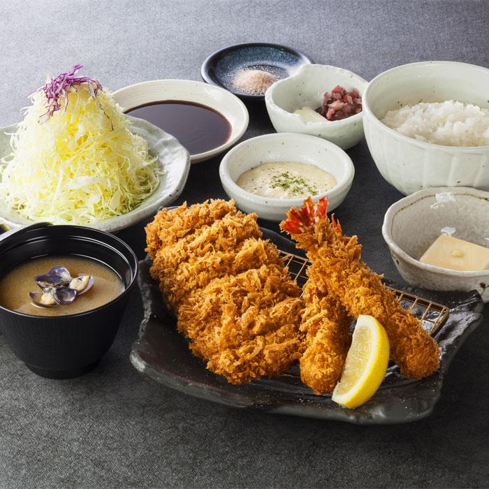 えびフライ&ロースかつ定食 1,280円